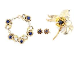 Vintage Sterling Silver Harry Iskin Floral Bracelet Brooch Earrings Matc... - $107.99