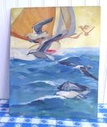 Nautical Oil Painting Sailboat Birds 1920s Listed Artist O Herbig Unfram... - $98.00