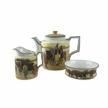 1930s Royal Doulton Series Ware Coaching Days Teapot Sugar Bowl & Creame... - £141.08 GBP