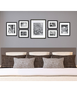 Wall Frame Set Black 7 New Picture Photo Gallery Solid Wood Frames Home ... - $68.80