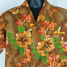 Made in Hawaii Vintage Aloha Hawaiian Shirt Mens XL Brown Orange 70s Big... - $44.99