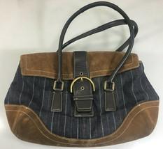 Coach Soho Blue Pinstripe Denim Mahogany Shoulder Bag Handbag Purse 9532... - $67.13