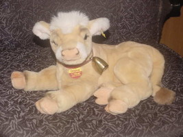 """14"""" Steiff Kalb Calf Cow Lying Plush Toy W/Bell, Button and Tags Number ... - $98.99"""