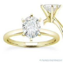 Oval Brilliant Cut Moissanite 14k Yellow Gold 6-Prong Solitaire Engageme... - £336.78 GBP+
