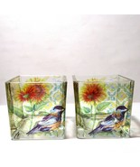Vintage Set of 2 Blue Bell Flowers Bird Sunflower Garden Candle Holders ... - $15.00