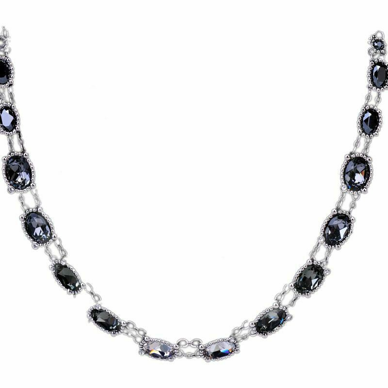 AUTHENTIC SWAN SIGNED SWAROVSKI ROSETTE DARK NECKLACE 5007810 NEW image 9