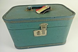 VTG Retro Hard Shell American Tourister Suitcase Train Case Light Blue w/ Tag - $42.22