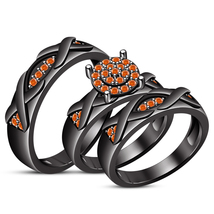 Engagement Wedding Matching Band Trio Ring Set Black Gold 925 Sterling S... - $161.99