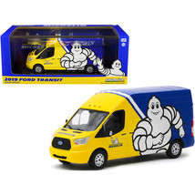 2019 Ford Transit High Roof Van Michelin Tires Yellow and Blue 1/43 Diec... - $29.31