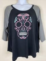 Torrid Womens Plus Size 3 (3X) Raglan Sugar Skull Graphic T-Shirt 3/4 Sl... - $23.40