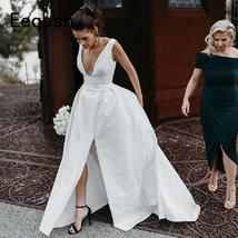 Elegant Satin Women Wedding Dresses  A Line Front Slit White Vintage Casamento B