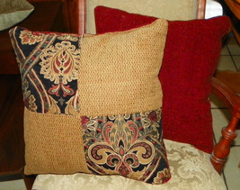Pair of Red Gold Abstract Patchwork Print Throw Pillows  18 x 18 - $49.95