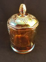 """Carnival Glass 7"""" Covered Candy Dish with chip on rim - $6.85"""