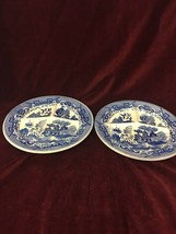 VINTAGE Japan BLUE WILLOW 3 Part Grill Plate Divided china 2 pieces Asian Orient - $39.84