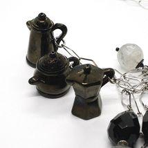 Silver 925 Necklace, Onyx, Mocha, Coffee Pot, Teapot, Pendants, Quartz Rutilated image 3