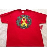 Support Our Troops Military Wreath Yellow Ribbon Red T-shirt Men's Sz 2XL - $14.99