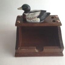 """Vintage Mid Century Wood Desk Set Decoy Duck Pen/Pencil Pad Holder 5""""T 6... - $10.09"""