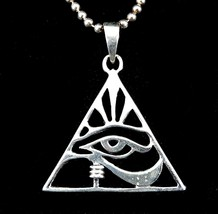 Handcrafted Solid 925 Sterling Silver EYE OF HORUS PYRAMID Triangle Pend... - $24.70