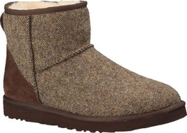 UGG Mens Classic Mini Tweed Boot Genuine Sheepskin & Suede In Brown Size... - $42.16
