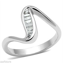Ladies Swirl Channel Set CZ Silver White Gold EP Ring - $19.90