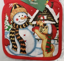 SET of 2 Printed Kitchen Pot Holders, CHRISTMAS, SNOWMAN & FRIEND, red b... - $7.91