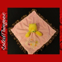 Disney Plush Winnie The Pooh Baby Security Blanket Rattles Pink Cute Cuddly - $22.28