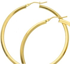 18K YELLOW GOLD CIRCLE EARRINGS DIAMETER 40 MM WITH RHOMBUS TUBE, MADE IN ITALY image 2