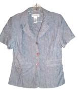 Sz 6P -  Sag Harbor Dress Petite Blue Speckled Short Sleeve Career Shirt - $37.99