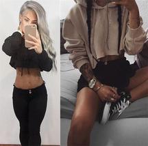 Women Fashion Casual Loose Punk Hoodie Long Sleeve Stylish Crop Top Autumn Thin