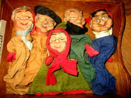Set of 1930's RARE Antique Punch and Judy Carved Wood Theatre Hand Puppets - $395.01