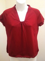 Talbots PS Top Red Stretch Knit Cap Sleeve Shirt Petite Small - $14.68