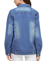 Women's Classic Casual Cotton Lightweight Distressed Denim Button Up Jean Jacket image 9