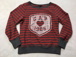 Gap Kids XXL 14 Red Gray Stripe White Heart Logo Sweatshirt Girls - $10.99