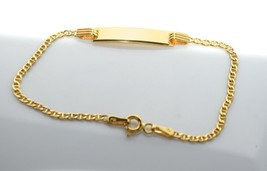 "14k Yellow Gold Mariner Link Id Baby Bracelet With 1"" Extension Free Eng... - $171.07"