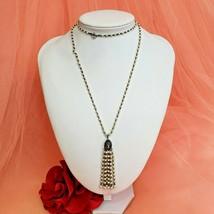 Vintage Silver Tone Pearl Bead Tassel Pendant Necklace  - $16.97