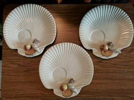 "Set 3 Fitz & Floyd FF Shell Snack Plates 3D Shells, Shell Shaped 9"" - $34.99"