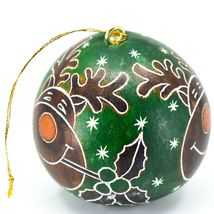 Handcrafted Carved Gourd Art Green Rudolph Reindeer Holiday Ornament Made Peru image 4