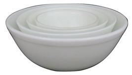 Pyrex  White #401,2,3, 4 Mixing Nesting Bowl PAINT TAKEN OFF - $89.09