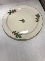 PICKARD platter Christmas Holly 13 inch gold edge round serving dining V... - $46.52