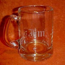 """Left-handed Glass Mug Has Name """"Jim"""" Etched on side. Is your Dad a Jim? - $12.86"""