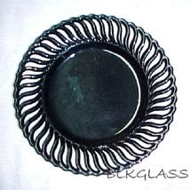 "Ebony Black  Amethyst Glass 9"" Border Plate Pinwheel Design Vintage - $25.98"