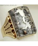HEAVY Antique c1900 Victorian RARE Silver in Quartz 10k Solid Gold Men's... - $787.05