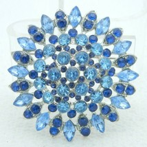 VTG Large Multi-Tier 3D Silver Tone Blue Glass Rhinestone Brooch Pin - $74.25