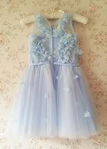 Full Flowers Embroidery Short Flower Girl Dress Blue Wedding Birthday Dress NWT image 4