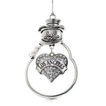 Inspired Silver Los Angeles Pave Heart Snowman Holiday Christmas Tree Ornament W - $14.69