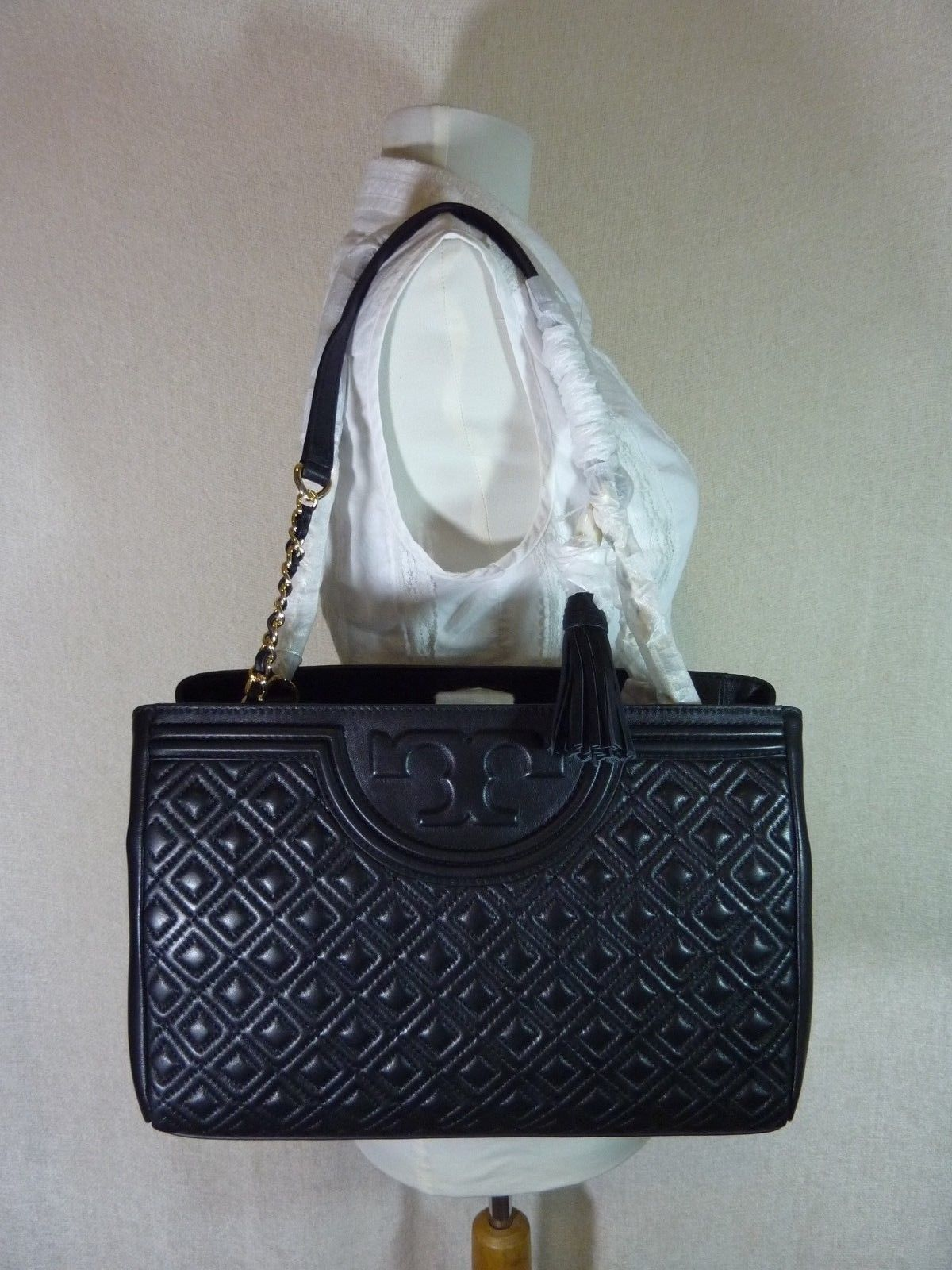 Primary image for NWT Tory Burch Black Fleming Open Shoulder Tote