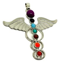 Hermes Winged Beautiful Chakra Silver Tone Guardian Angel Wing Pendant Gift - $18.76