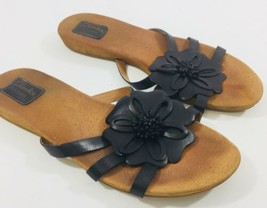 782c12a90 Clarks Artisan Active Air Womens size 9 Black Leather Floral Slides Sandals  Shoe -  18.49