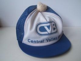 CVB Central Valley Bank Beat Up Hat VTG Short Bill Pom Pom Snapback Truc... - $14.89