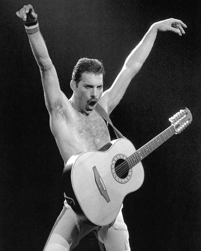 Primary image for Queen Freddie Mercury bare chested with guitar iconic pose concert 16x20 Canvas